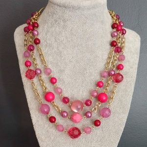 Pink and gold multi strand necklace